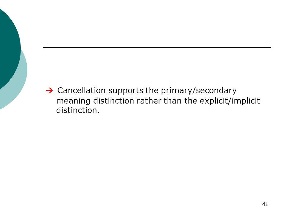 41  Cancellation supports the primary/secondary meaning distinction rather than the explicit/implicit distinction.