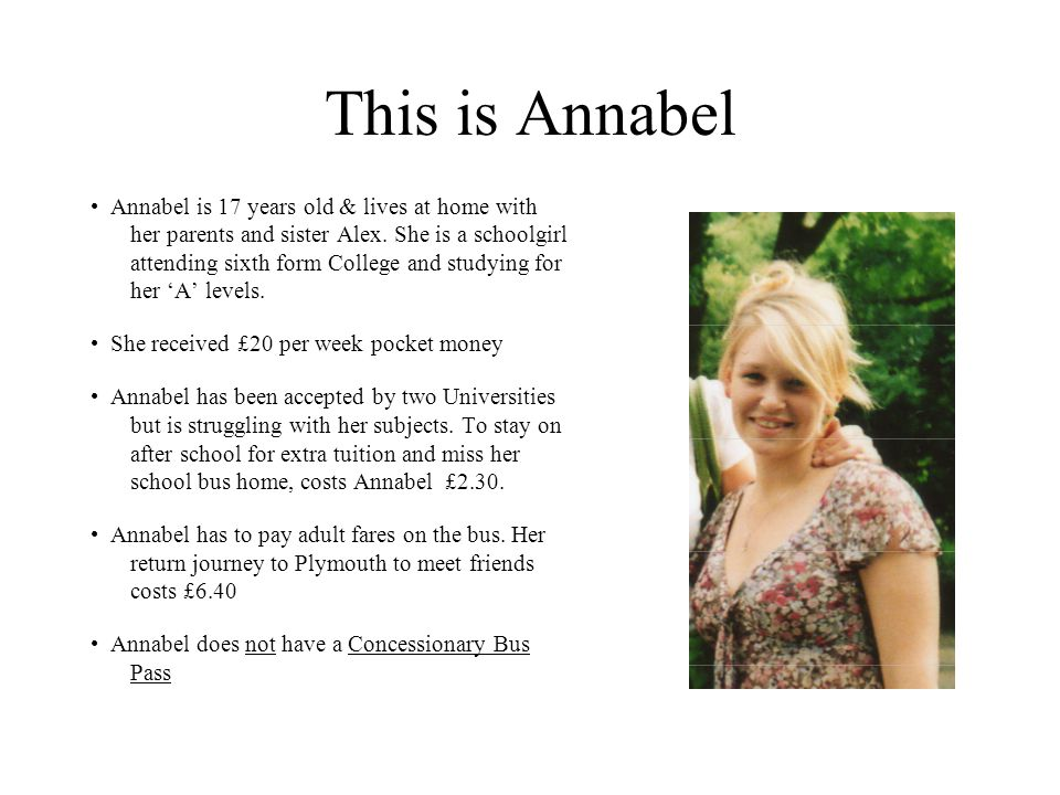 This is Annabel Annabel is 17 years old & lives at home with her parents and sister Alex.