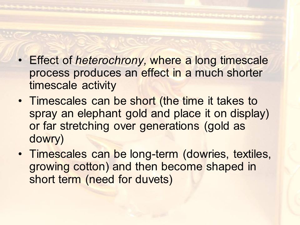 Effect of heterochrony, where a long timescale process produces an effect in a much shorter timescale activity Timescales can be short (the time it takes to spray an elephant gold and place it on display) or far stretching over generations (gold as dowry) Timescales can be long-term (dowries, textiles, growing cotton) and then become shaped in short term (need for duvets)