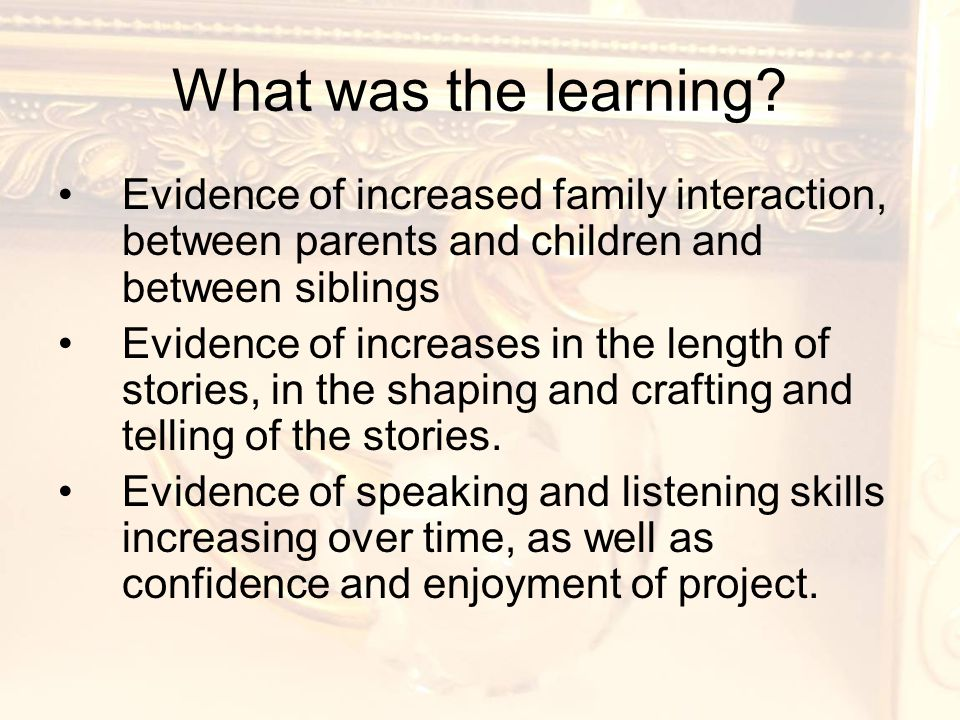 What was the learning.