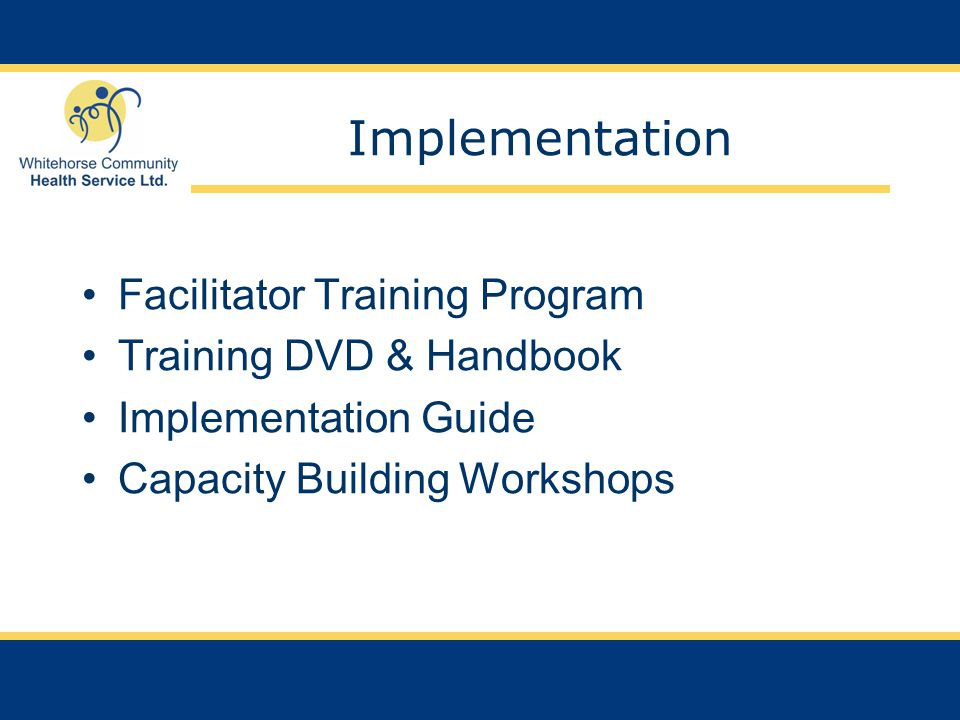 Implementation Facilitator Training Program Training DVD & Handbook Implementation Guide Capacity Building Workshops