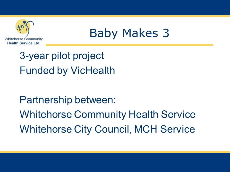Baby Makes 3 3-year pilot project Funded by VicHealth Partnership between: Whitehorse Community Health Service Whitehorse City Council, MCH Service
