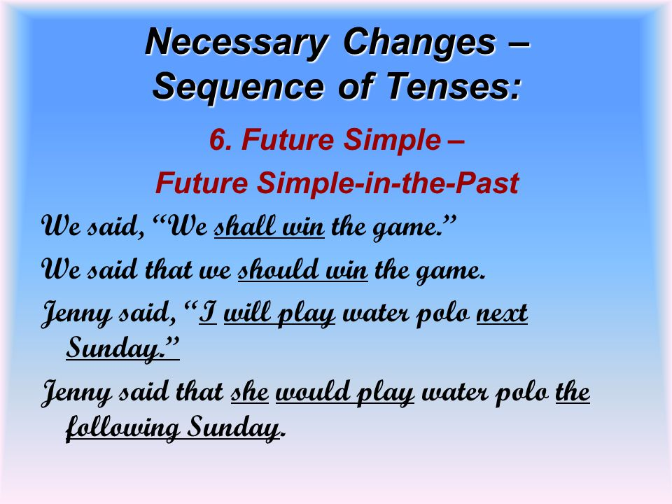 """Necessary Changes – Sequence of Tenses: 6. Future Simple – Future Simple-in-the-Past We said, """"We shall win the game."""" We said that we should win the"""