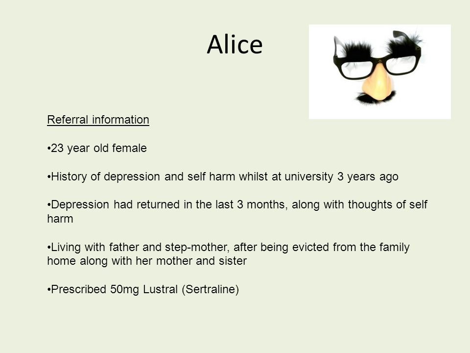 Summary Presenting issue of mild-moderate depression, with a previous episode of depression 3 years ago Assumptions/rules led to compensatory behaviours which became self-perpetuating Treatment plan aimed at increasing confidence through reducing compensatory behaviours and testing assumptions