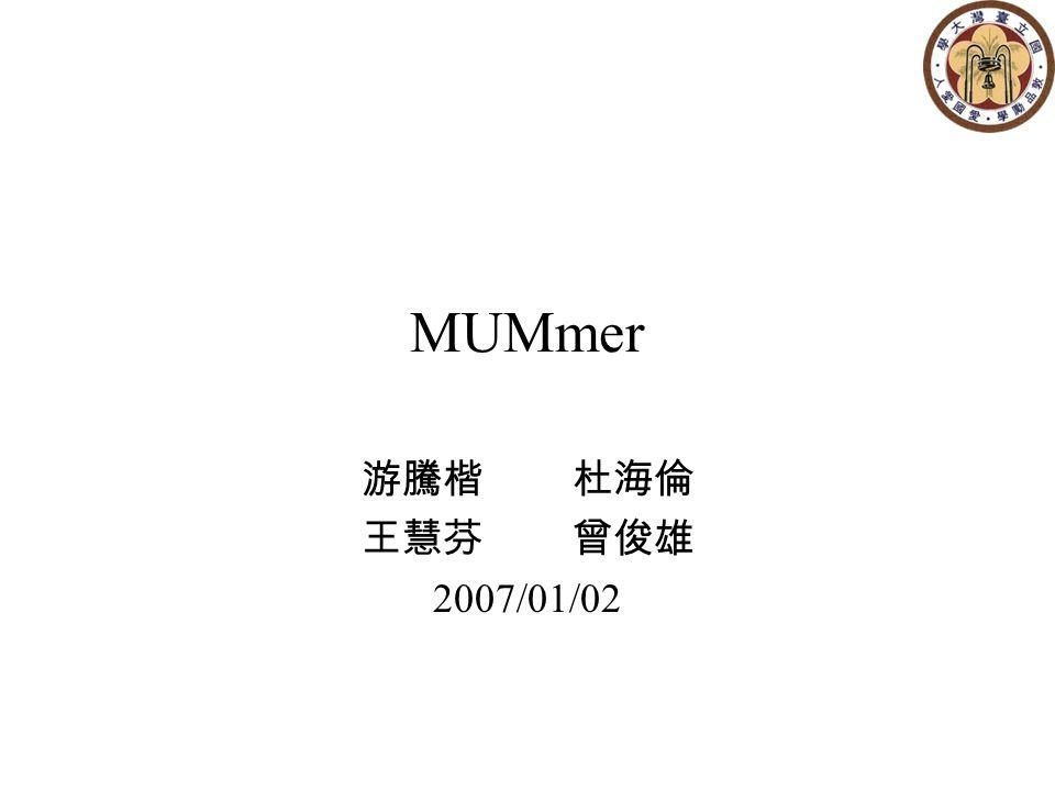 Outlines Suffix Tree MUMmer 1.0 MUMmer 2.1 MUMmer 3.0 Conclusion