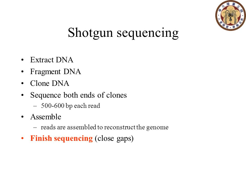 Shotgun sequencing Extract DNA Fragment DNA Clone DNA Sequence both ends of clones –500-600 bp each read Assemble –reads are assembled to reconstruct the genome Finish sequencing (close gaps)