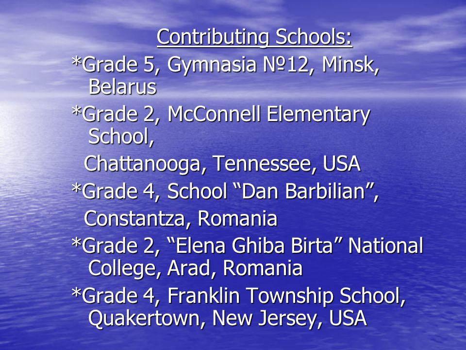 Contributing Schools: *Grade 5, Gymnasia №12, Minsk, Belarus *Grade 2, McConnell Elementary School, Chattanooga, Tennessee, USA Chattanooga, Tennessee