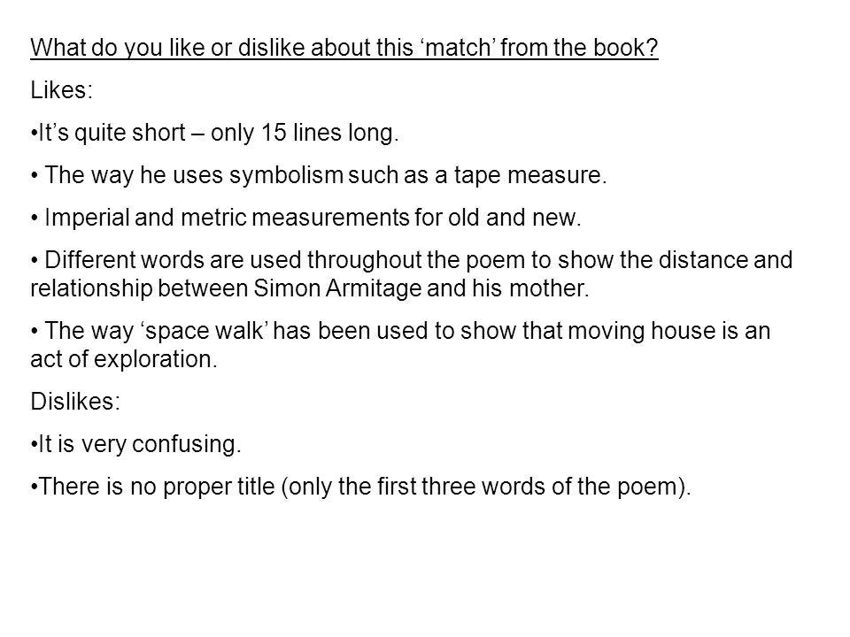 What do you like or dislike about this 'match' from the book.