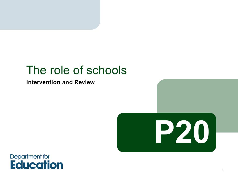 Intervention and Review The role of schools P20 1