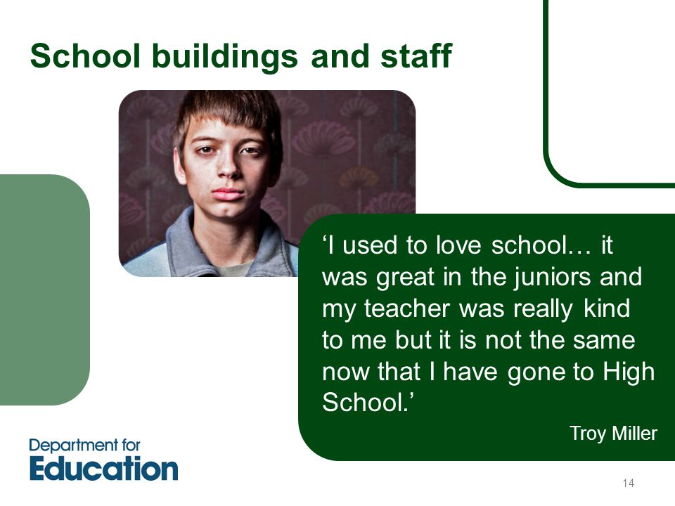 14 School buildings and staff 'I used to love school… it was great in the juniors and my teacher was really kind to me but it is not the same now that I have gone to High School.' Troy Miller