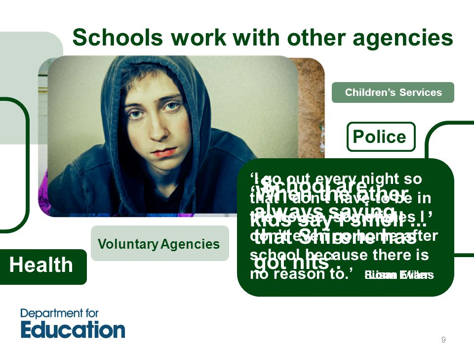 9 Schools work with other agencies Police 'When the other kids say I smell...' Susan Miller Health Children's Services Voluntary Agencies 'School are always saying that Shirene has got nits'.