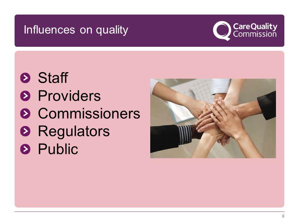 8 Staff Providers Commissioners Regulators Public Influences on quality
