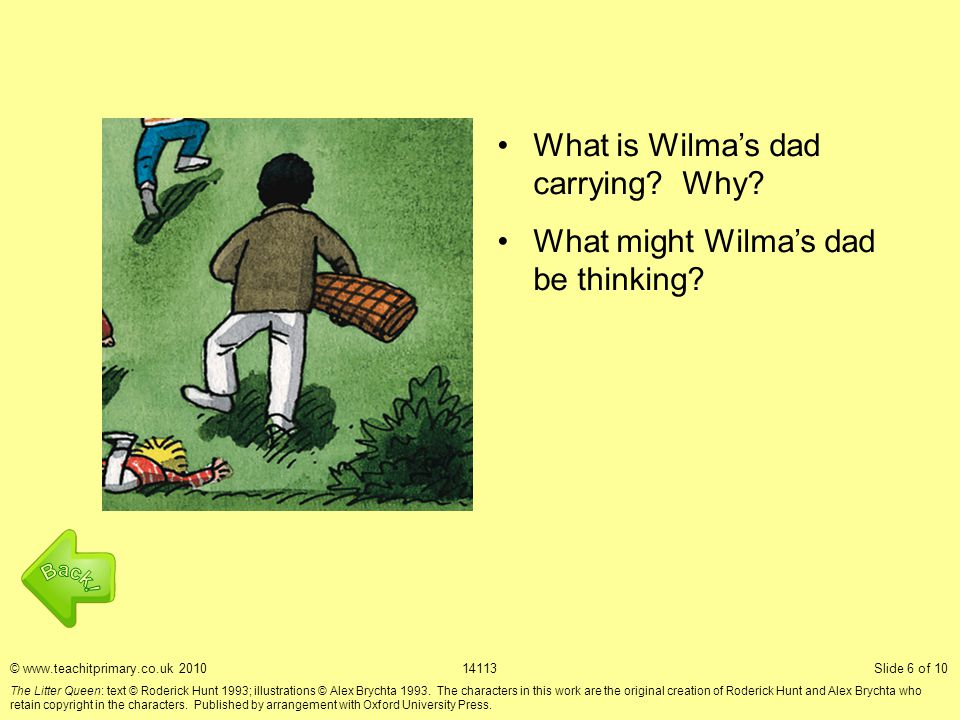 What is Wilma's dad carrying. Why. What might Wilma's dad be thinking.