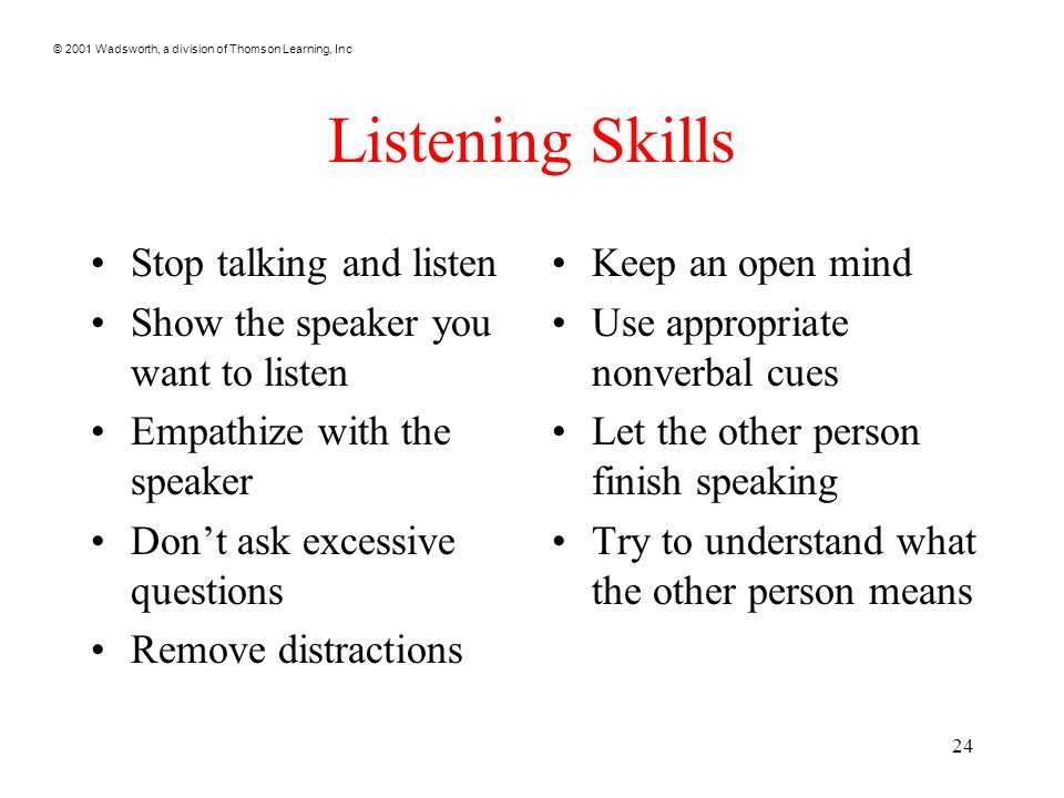 © 2001 Wadsworth, a division of Thomson Learning, Inc 24 Listening Skills Stop talking and listen Show the speaker you want to listen Empathize with t