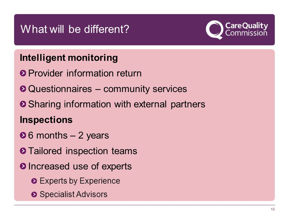 10 What will be different? Intelligent monitoring Provider information return Questionnaires – community services Sharing information with external pa