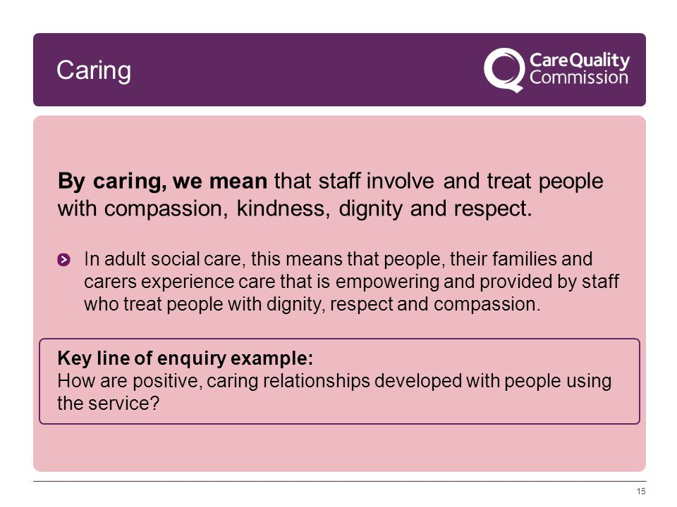 Caring By caring, we mean that staff involve and treat people with compassion, kindness, dignity and respect. In adult social care, this means that pe