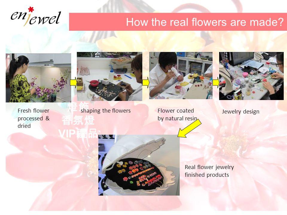 燈飾 香氛燈 VIP 禮品 How the real flowers are made? Fresh flower processed & dried shaping the flowersFlower coated by natural resin Jewelry design Real flow