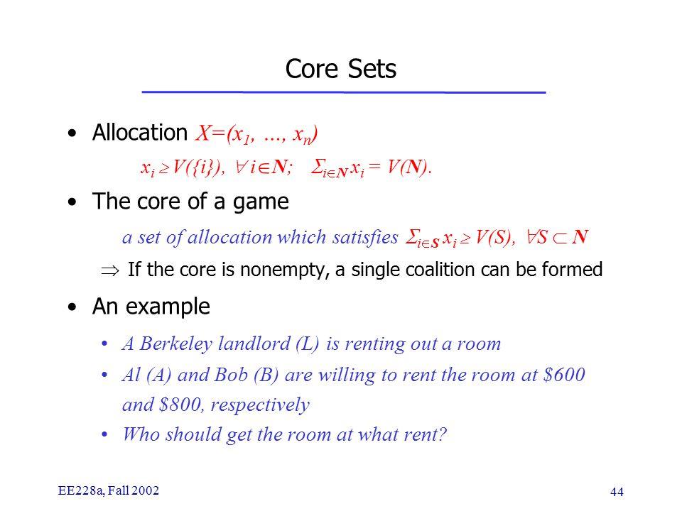EE228a, Fall 2002 44 Core Sets Allocation X=(x 1, …, x n ) x i  V({i}),  i  N;  i  N  x i = V(N).