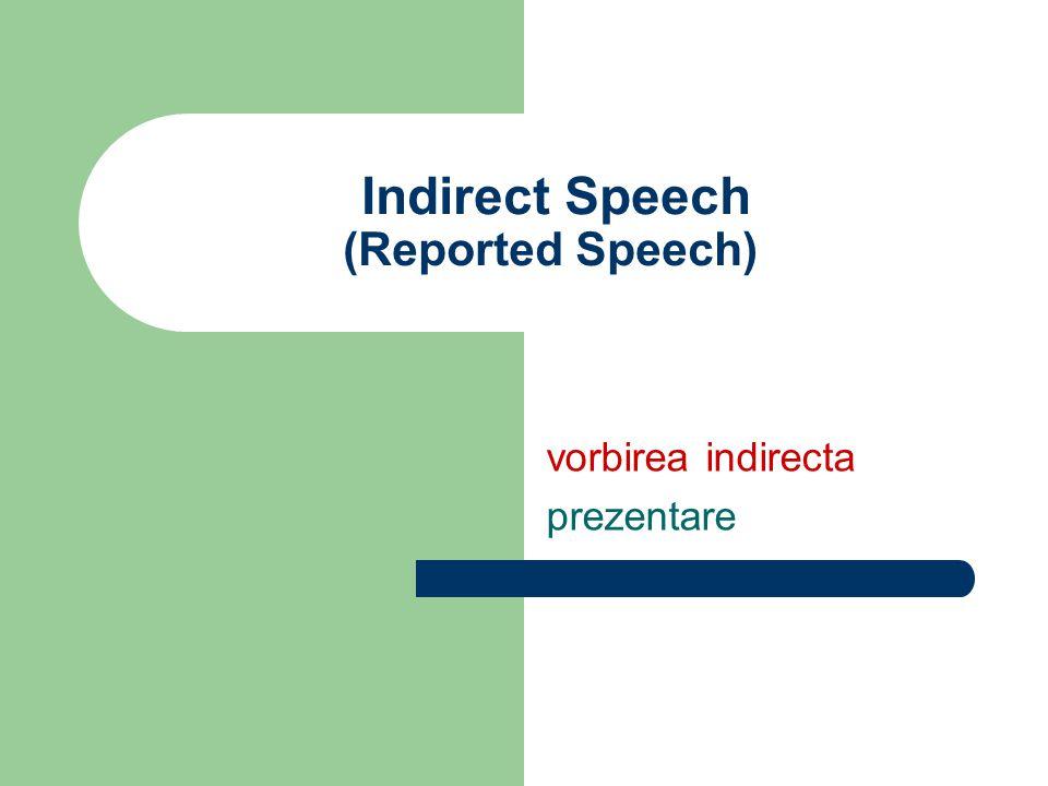 Indirect Speech (Reported Speech) vorbirea indirecta prezentare