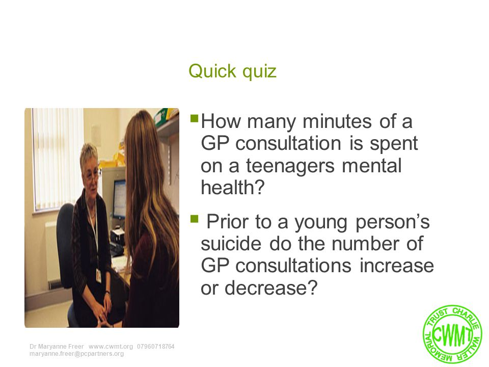 Quick quiz  How many minutes of a GP consultation is spent on a teenagers mental health.