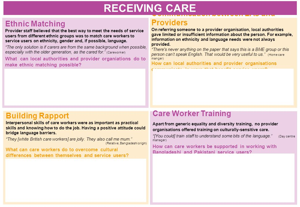 Building Rapport Interpersonal skills of care workers were as important as practical skills and knowing how to do the job.