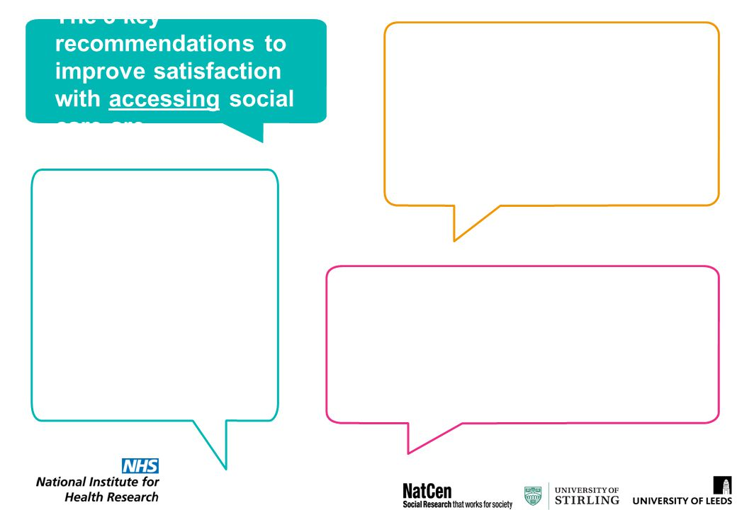 The 3 key recommendations to improve satisfaction with accessing social care are…