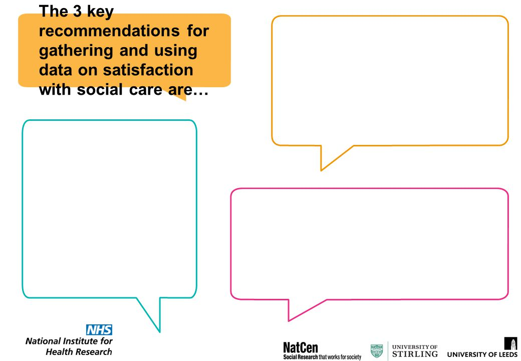 The 3 key recommendations for gathering and using data on satisfaction with social care are…