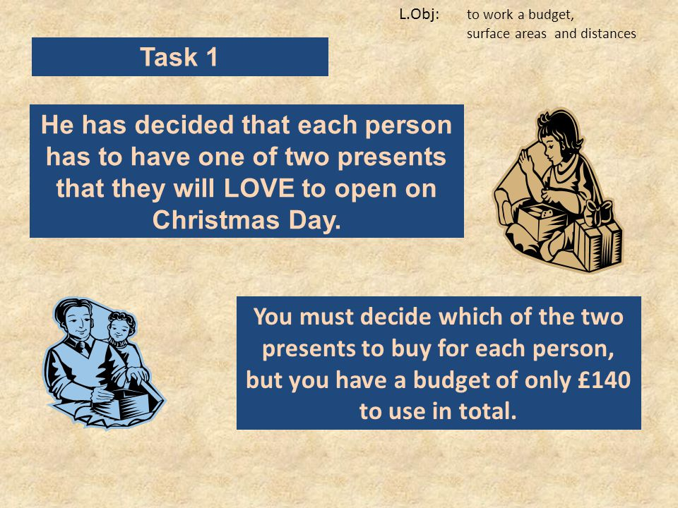 L.Obj: to work a budget, surface areas and distances Task 1 He has decided that each person has to have one of two presents that they will LOVE to open on Christmas Day.