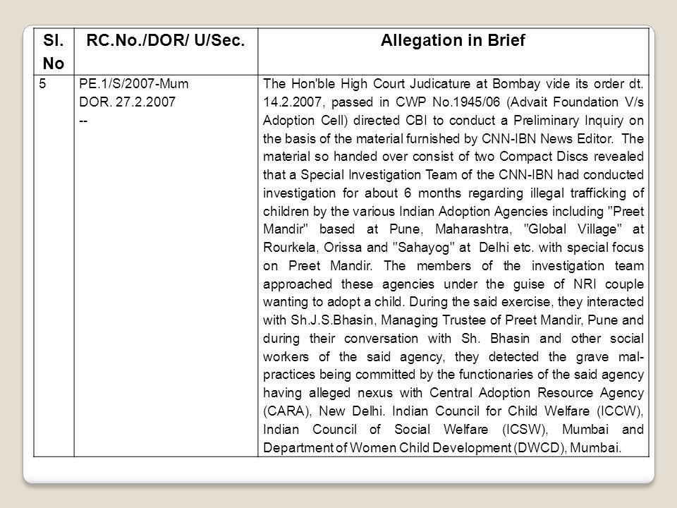 Sl. No RC.No./DOR/ U/Sec.Allegation in Brief 5PE.1/S/2007-Mum DOR. 27.2.2007 -- The Hon'ble High Court Judicature at Bombay vide its order dt. 14.2.20