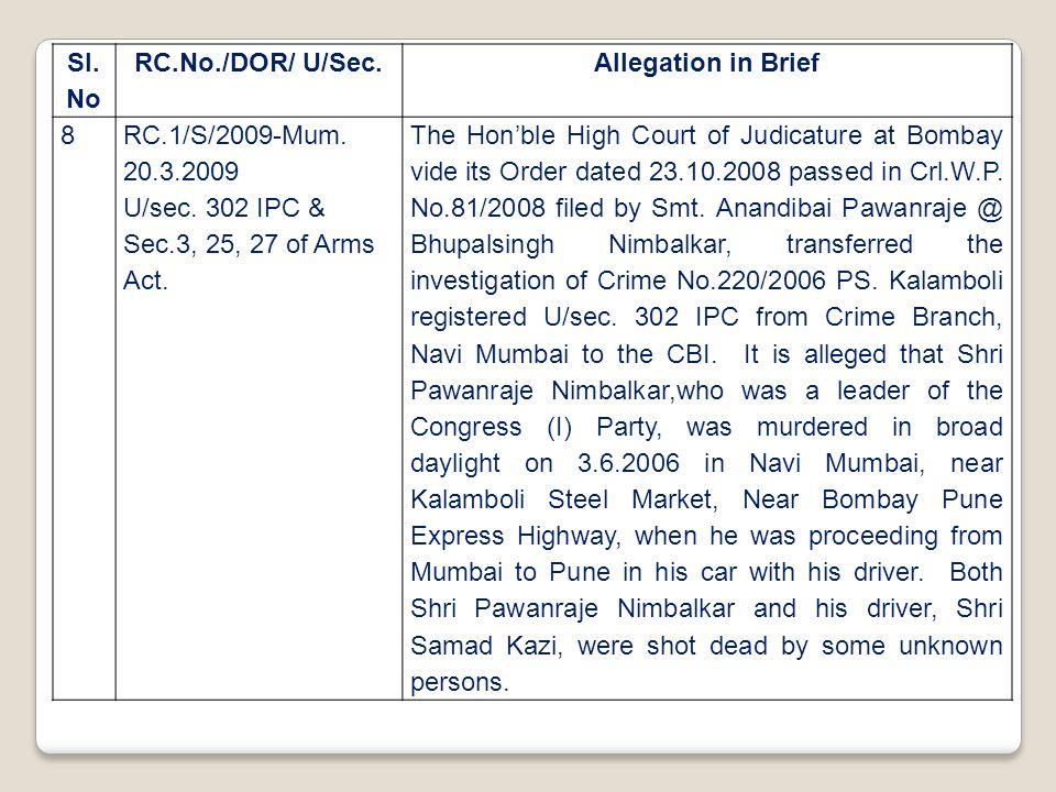 Sl. No RC.No./DOR/ U/Sec.Allegation in Brief 8RC.1/S/2009-Mum. 20.3.2009 U/sec. 302 IPC & Sec.3, 25, 27 of Arms Act. The Hon'ble High Court of Judicat