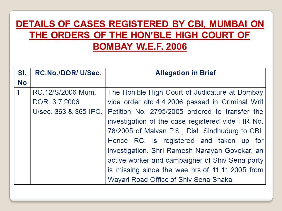 Sl. No RC.No./DOR/ U/Sec.Allegation in Brief 1RC.12/S/2006-Mum. DOR. 3.7.2006 U/sec. 363 & 365 IPC. The Hon'ble High Court of Judicature at Bombay vid