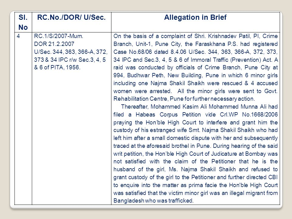 Sl. No RC.No./DOR/ U/Sec.Allegation in Brief 4RC.1/S/2007-Mum. DOR 21.2.2007 U/Sec. 344, 363, 366-A, 372, 373 & 34 IPC r/w Sec.3, 4, 5 & 6 of PITA, 19