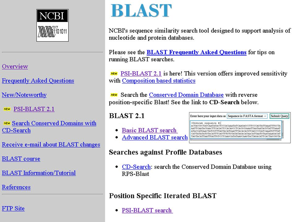Database Scanning or Fold Recognition Concept of PSIBLAST –Perform the BLAST search (gap handling) –GeneImprove the sensivity of BLAST –rate the position-specific score matrix –Use PSSM for next round of search Intermediate Sequence Search –Search query against protein database –Generate multiple alignment or profile –Use profile to search against PDB
