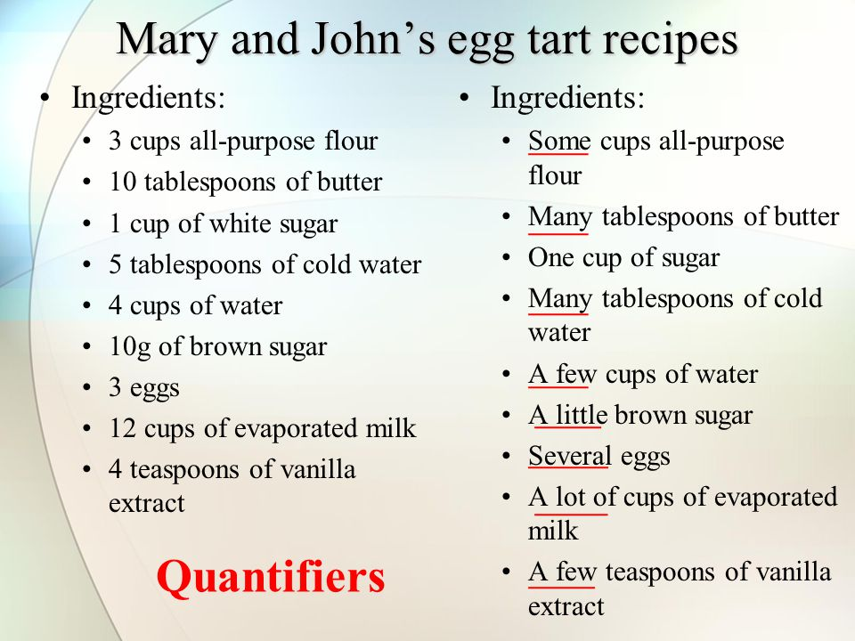 Mary and John's egg tart recipes Ingredients: 3 cups all-purpose flour 10 tablespoons of butter 1 cup of white sugar 5 tablespoons of cold water 4 cups of water 10g of brown sugar 3 eggs 12 cups of evaporated milk 4 teaspoons of vanilla extract Ingredients: Some cups all-purpose flour Many tablespoons of butter One cup of sugar Many tablespoons of cold water A few cups of water A little brown sugar Several eggs A lot of cups of evaporated milk A few teaspoons of vanilla extract Quantifiers