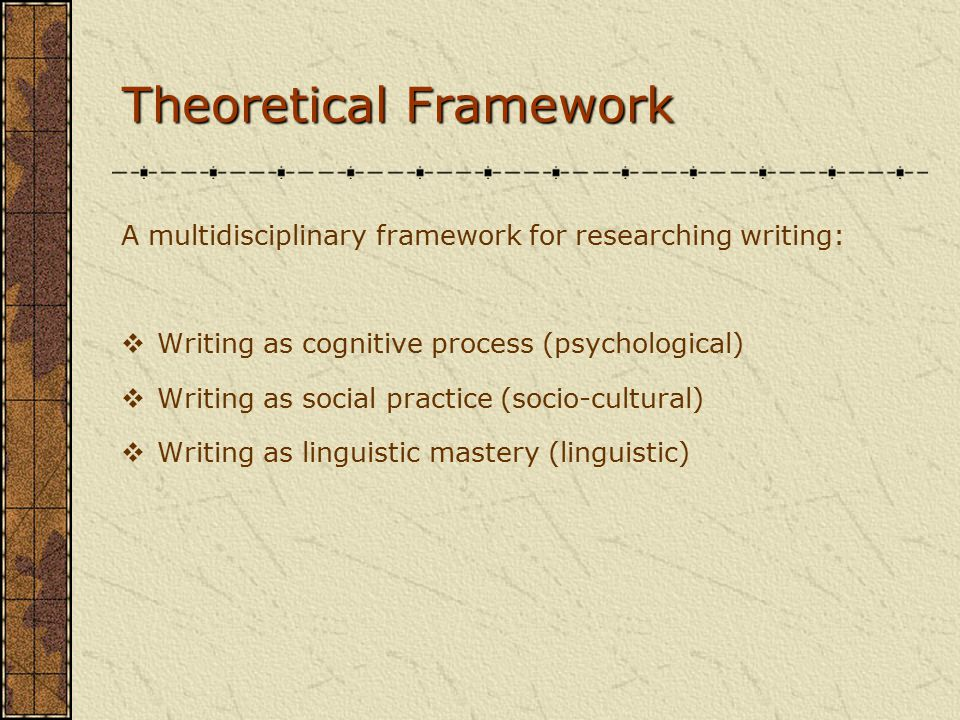 Theoretical Framework A multidisciplinary framework for researching writing:  Writing as cognitive process (psychological)  Writing as social practice (socio-cultural)  Writing as linguistic mastery (linguistic)