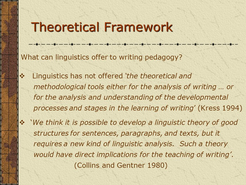 Theoretical Framework What can linguistics offer to writing pedagogy.