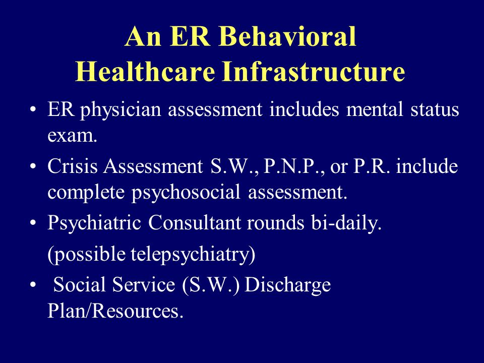 An ER Behavioral Healthcare Infrastructure ER physician assessment includes mental status exam.