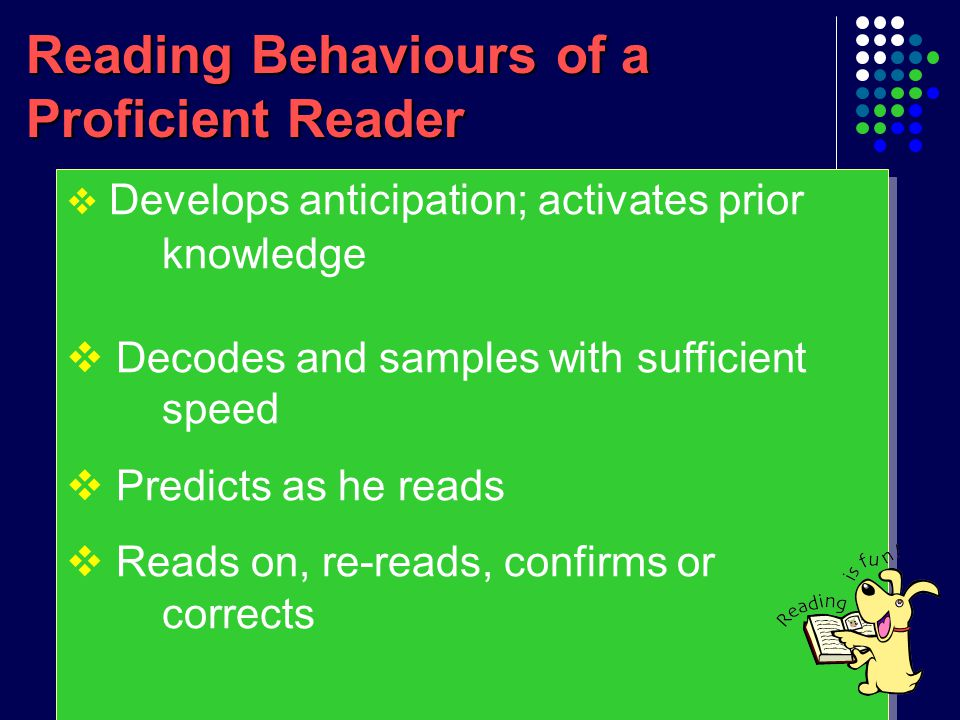 Reading problems of our students as novice readers  Little anticipation  Read word by word  Got stuck with a difficult word and give up reading  Skip difficult words and read on despite loss of meaning  Seldom re-read and self-correct  Little anticipation  Read word by word  Got stuck with a difficult word and give up reading  Skip difficult words and read on despite loss of meaning  Seldom re-read and self-correct