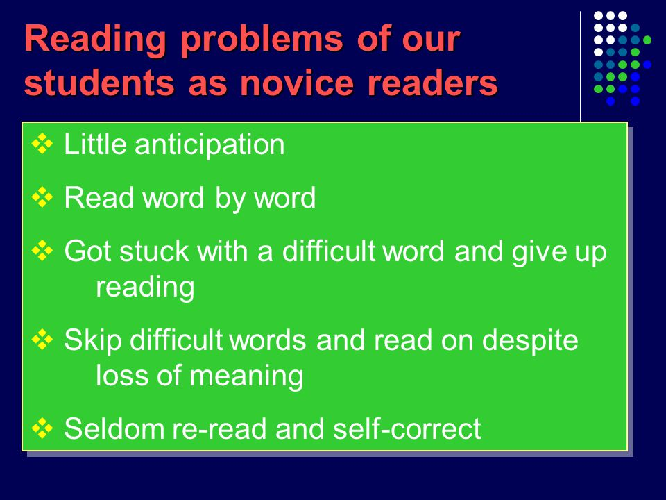 Current practice  A typical comprehension lesson: 1.