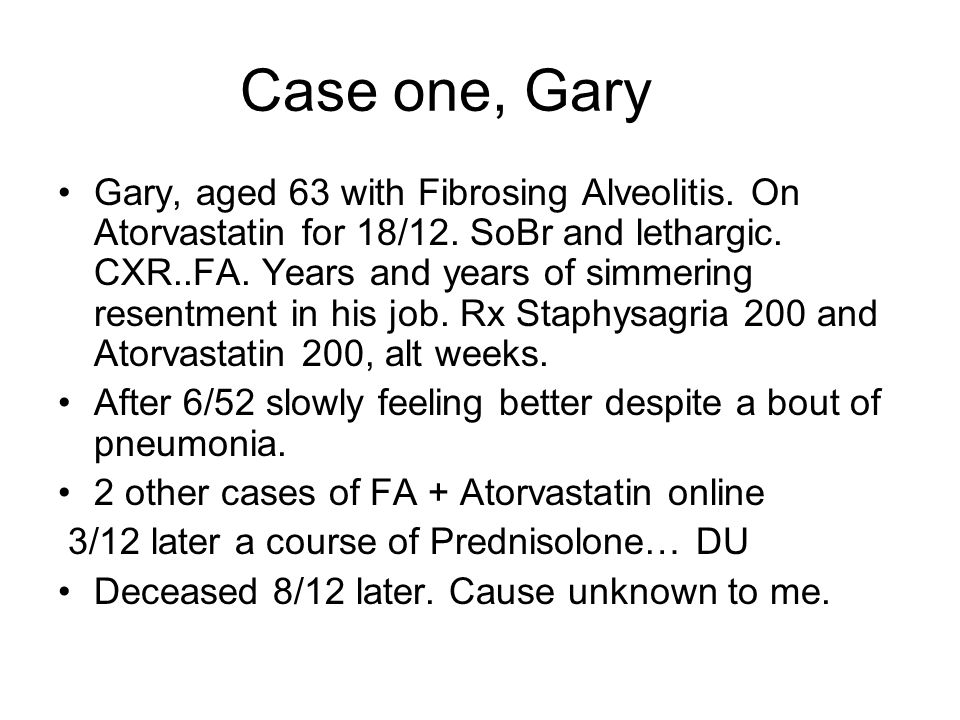 Case one, Gary Gary, aged 63 with Fibrosing Alveolitis.