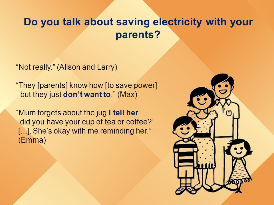 "Do you talk about saving electricity with your parents? ""Not really."" (Alison and Larry) ""They [parents] know how [to save power] but they just don't"