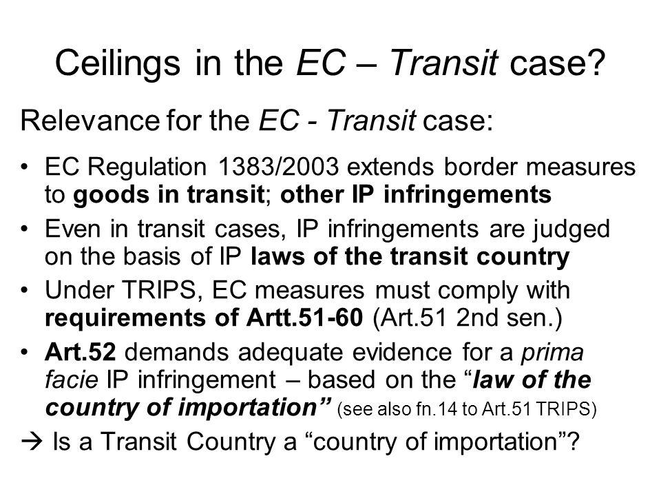Ceilings in the EC – Transit case.