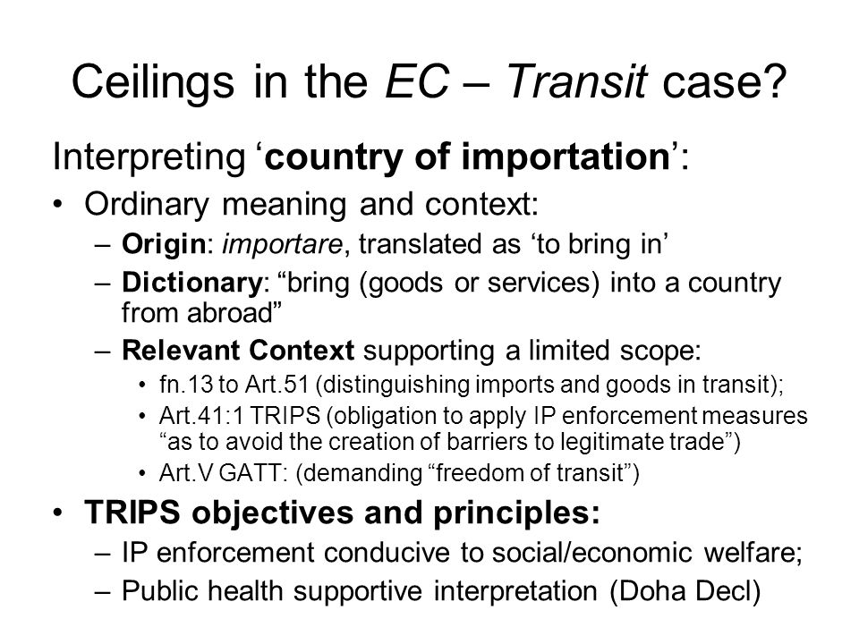Ceilings in the EC – Transit case.
