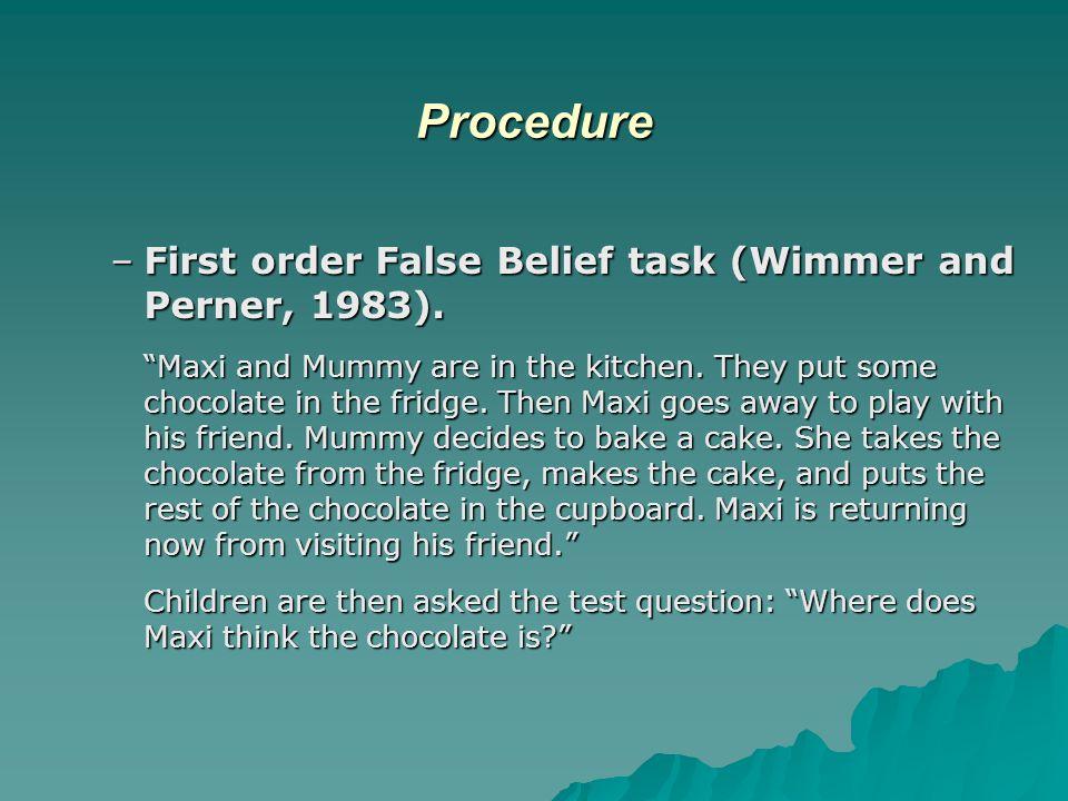 Procedure –First order False Belief task (Wimmer and Perner, 1983).