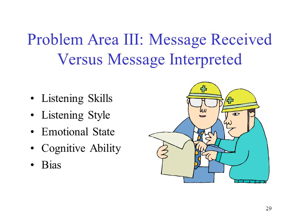 29 Problem Area III: Message Received Versus Message Interpreted Listening Skills Listening Style Emotional State Cognitive Ability Bias