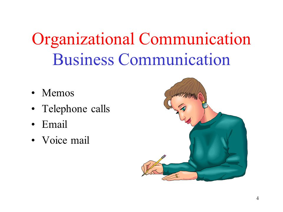 4 Organizational Communication Business Communication Memos Telephone calls Email Voice mail