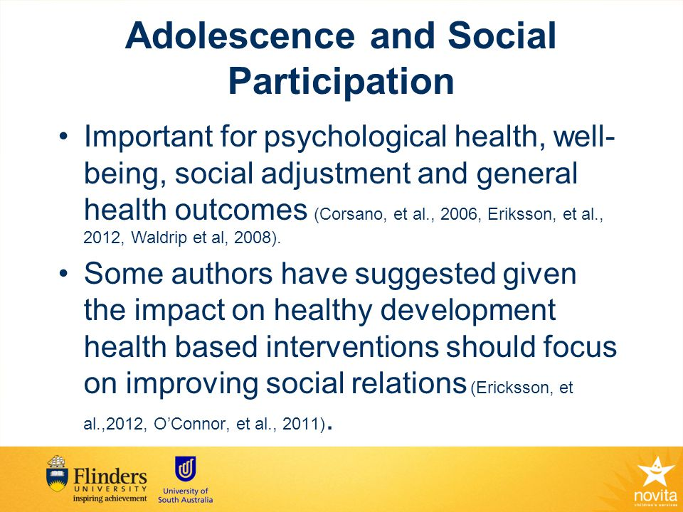 Social Networks of children with disabilities Reduced social networks in children and adolescents with disabilities (Raghavendra et al., 2011a, 2012; Thirumanickam et al., 2011) Children and young people with disabilities have fewer friendships, are more socially isolated, and at increased risk of social impairment (McMaugh & Debus, 1999; Nadeau & Tesser, 2006)