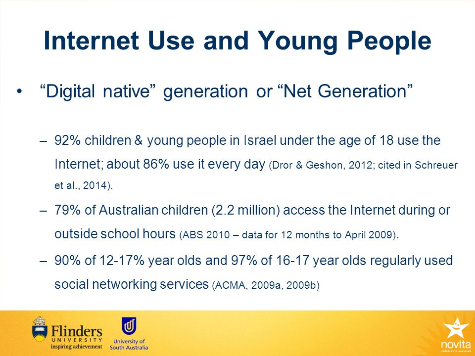 Internet Use and Young people with disabilities Survey of Internet Use (Newman et al., 2010; Raghavendra et al., 2011b; Raghavendra et al., 2012) Online social networking use (Lewis, 2010) Perceptions of using Digital technology by young people who use AAC (Hynan et al., 2014) Online peer support intervention (Barnfather et al., 2011; Stewart et al., 2011)