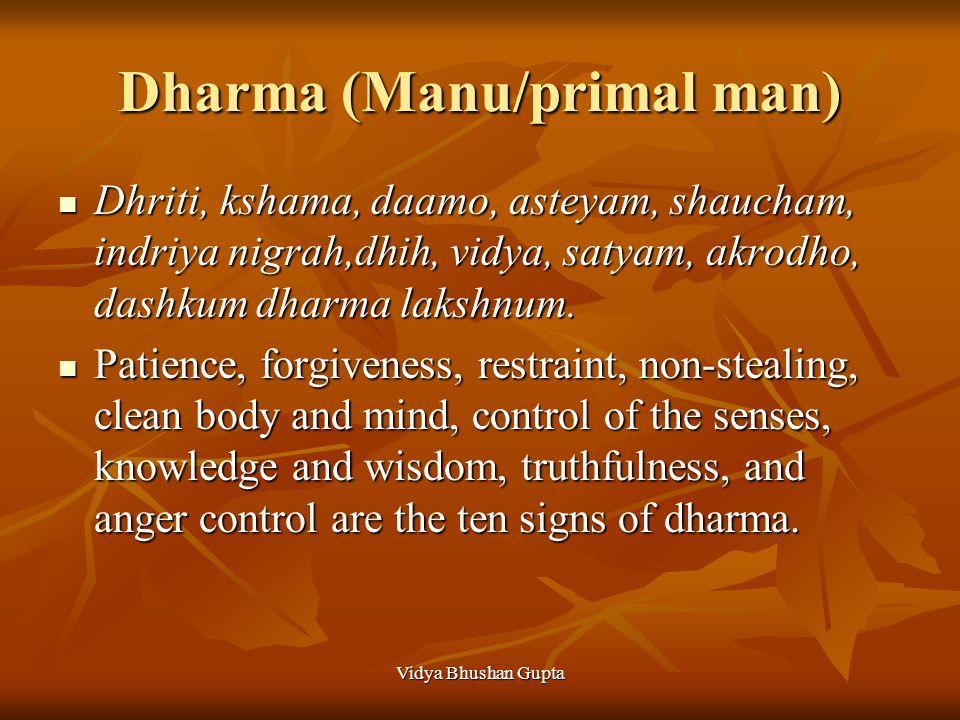 Vidya Bhushan Gupta Dharma (Manu/primal man) Dhriti, kshama, daamo, asteyam, shaucham, indriya nigrah,dhih, vidya, satyam, akrodho, dashkum dharma lak