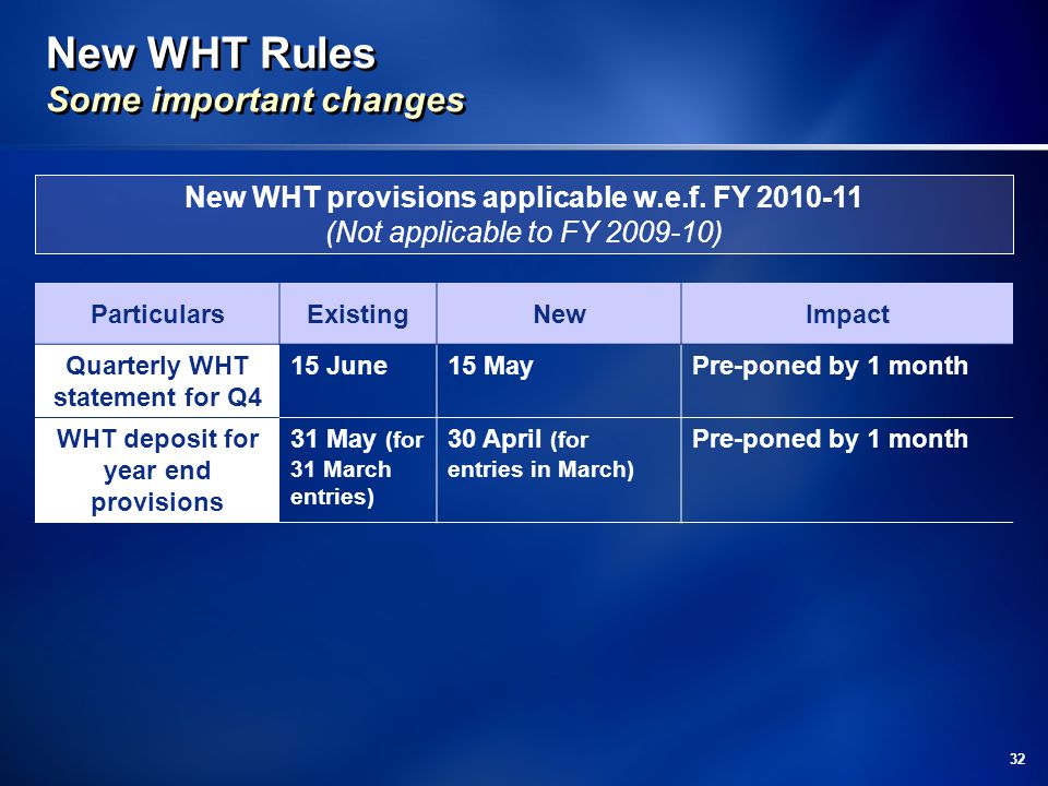 32 New WHT Rules Some important changes ParticularsExistingNewImpact Quarterly WHT statement for Q4 15 June15 MayPre-poned by 1 month WHT deposit for year end provisions 31 May (for 31 March entries) 30 April (for entries in March) Pre-poned by 1 month New WHT provisions applicable w.e.f.